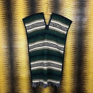 VINTAGE Heavy Mexican Blanket Green Poncho Jacket
